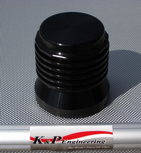 K and P Gloss Black Lifetime Oil Filter
