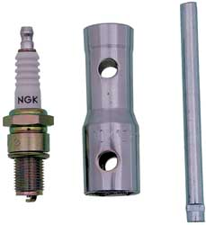 Three way spark plug wrench